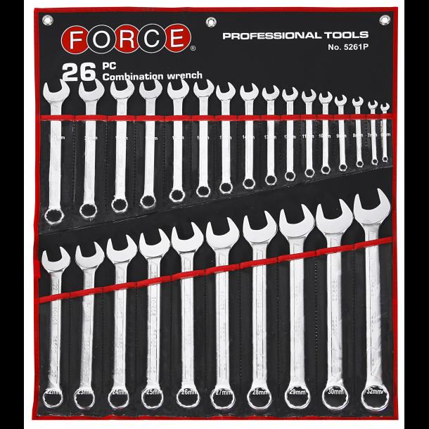Force ringgaffelnøglesæt i pose 6-32 mm