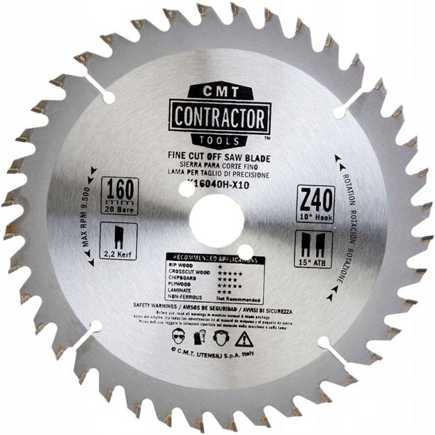CMT Contractor rundsavklinge 160x20 mm 40 tands