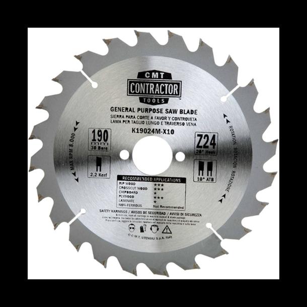 CMT Contractor rundsavklinge 190x30 mm 24 tands