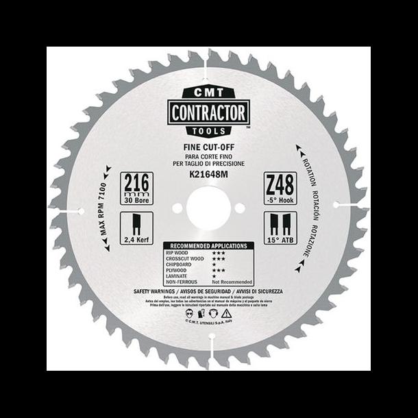 CMT Contractor rundsavklinge 216x30 mm 48 tands