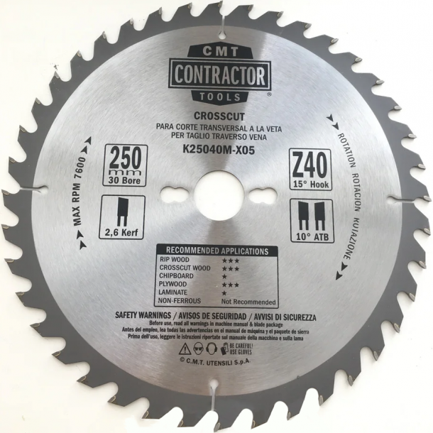 CMT Contractor rundsavklinge 250x30 mm 40 tands