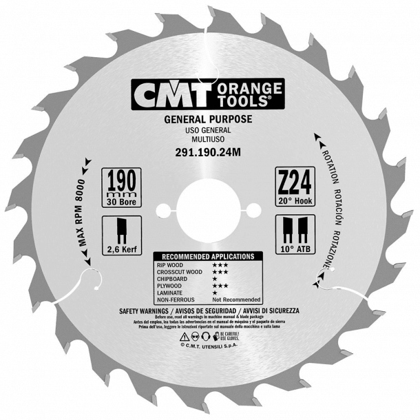 Cmt hm universal rundsavklinge 190x30 mm td 24