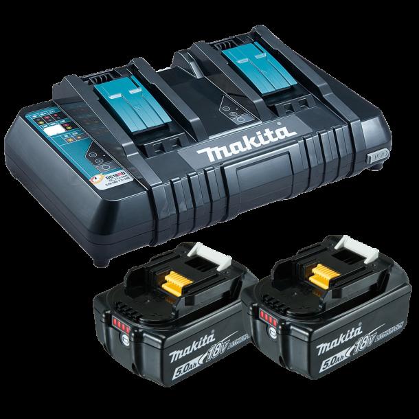 Makita batteri/laderpakke 18v 2 stk 5,0 Ah + lader