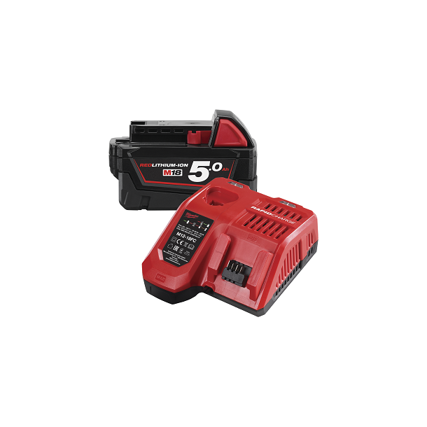 Milwaukee M18 5,0 ah batteri og hurtiglader