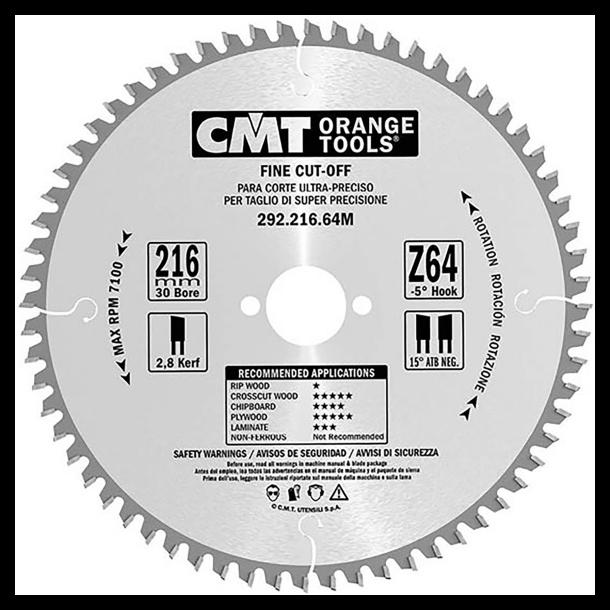 Cmt hm universal rundsavklinge 216x30 mm td 64