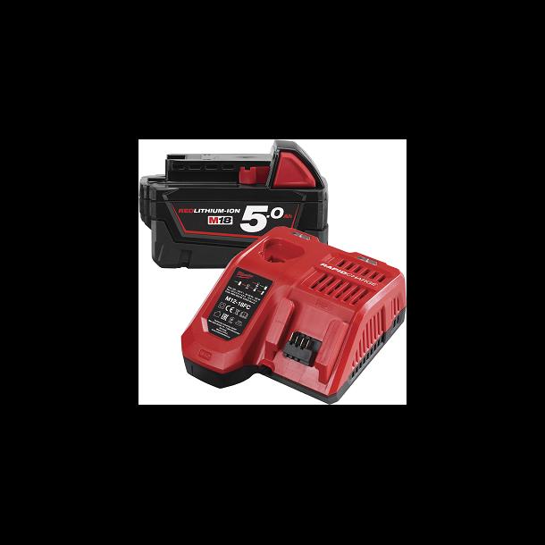 Milwaukee M18 5,0 ah batteri og hurtiglader