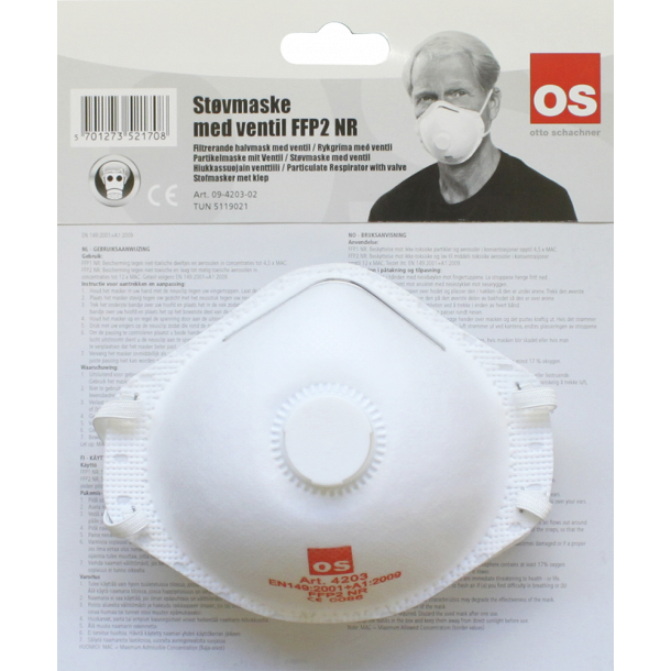 Os filtermaske med ventil - 12 stk